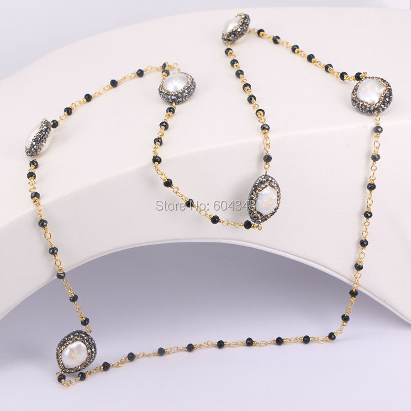 3Strands Fashion Pave Crystal Zircon Freshwater Pearl