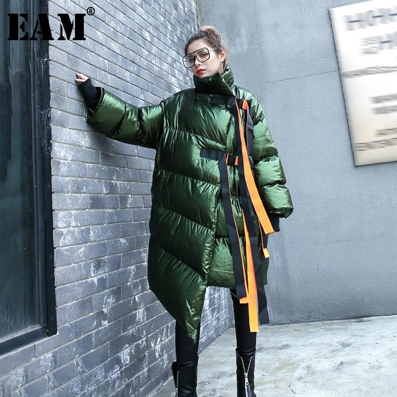 [EAM] 2019 New Spring Stad Collar Long Sleeve Cotton-padded Large Size Ribbon Stitch Irregular Hem Coat Women Parkas JI2