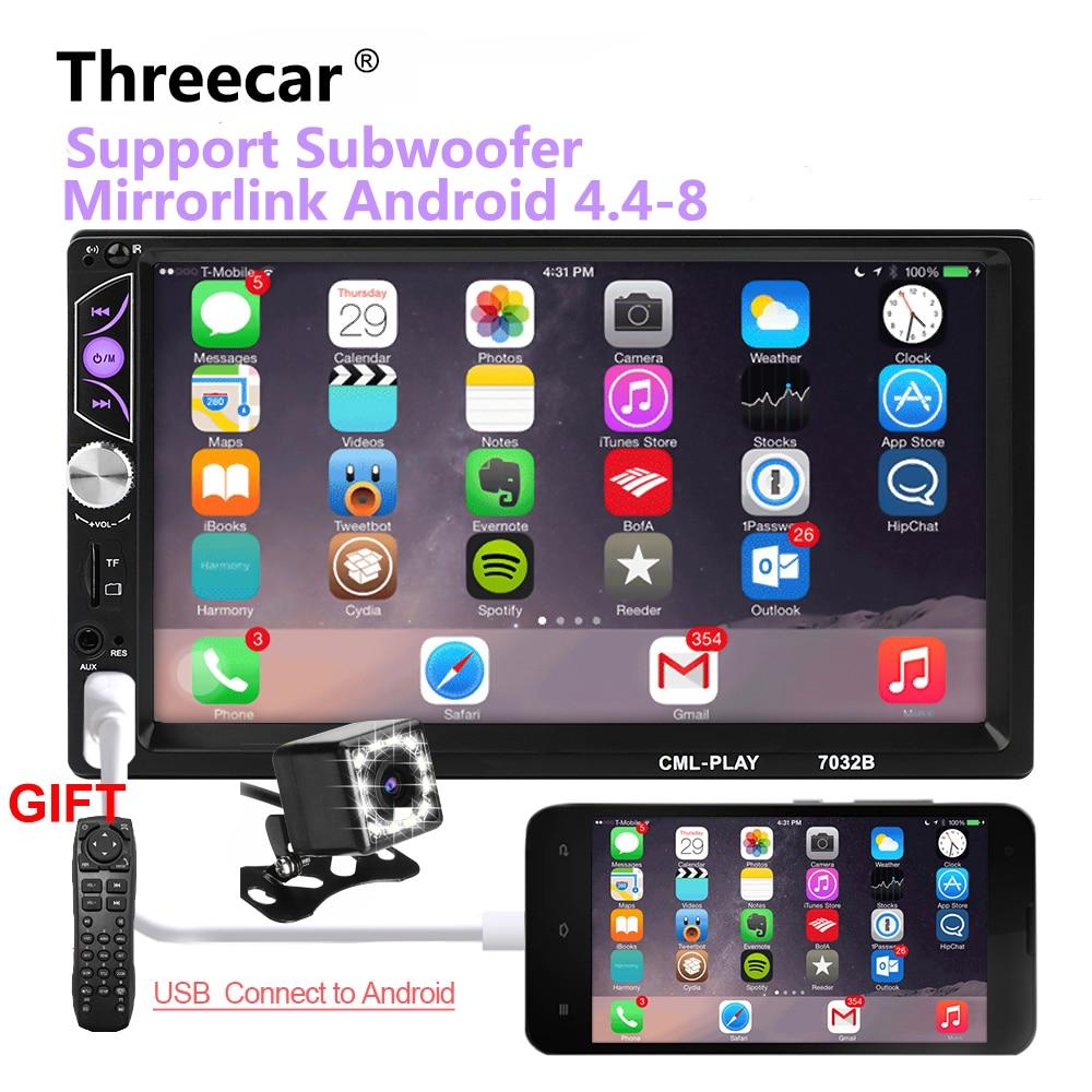 Miroir lien Android 8.0 2 din autoradio autoradio 7 ''Multimédia Lecteur Bluetooth mains libres FM/TF/USB caméra de recul De Voiture Radio