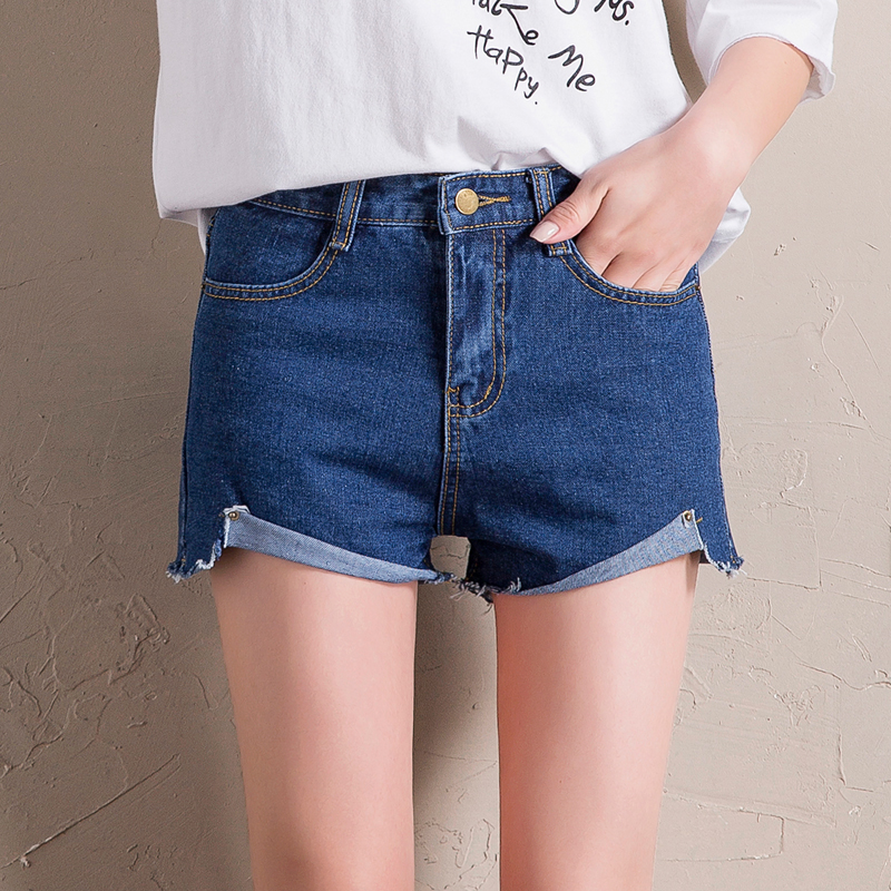 Women's denim shorts female casual loose wide leg pants shorts roll-up hem pocket jeans slim ladies pans summer