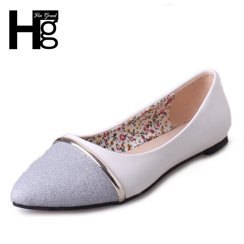 HEE GRAND Gold Silver Causal Women Flats Slip-On Round Toe Fashion Loafers 2018 Spring New Shoes Woman Size Plus 35-40 XWD6343 gold sliver shoes woman for 2016 new spring glitter bling pointed toe flats women shoes for summer size plus 35 40 xwd1841
