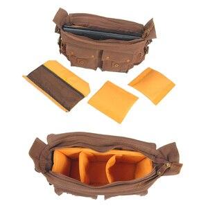 Image 3 - Luxury Cowboy Genuine Camera Bag Oilskin Leather Single Waterproof Shoulder Bags Canvas Bag Inner Tank SLR Camera Messenger Bags