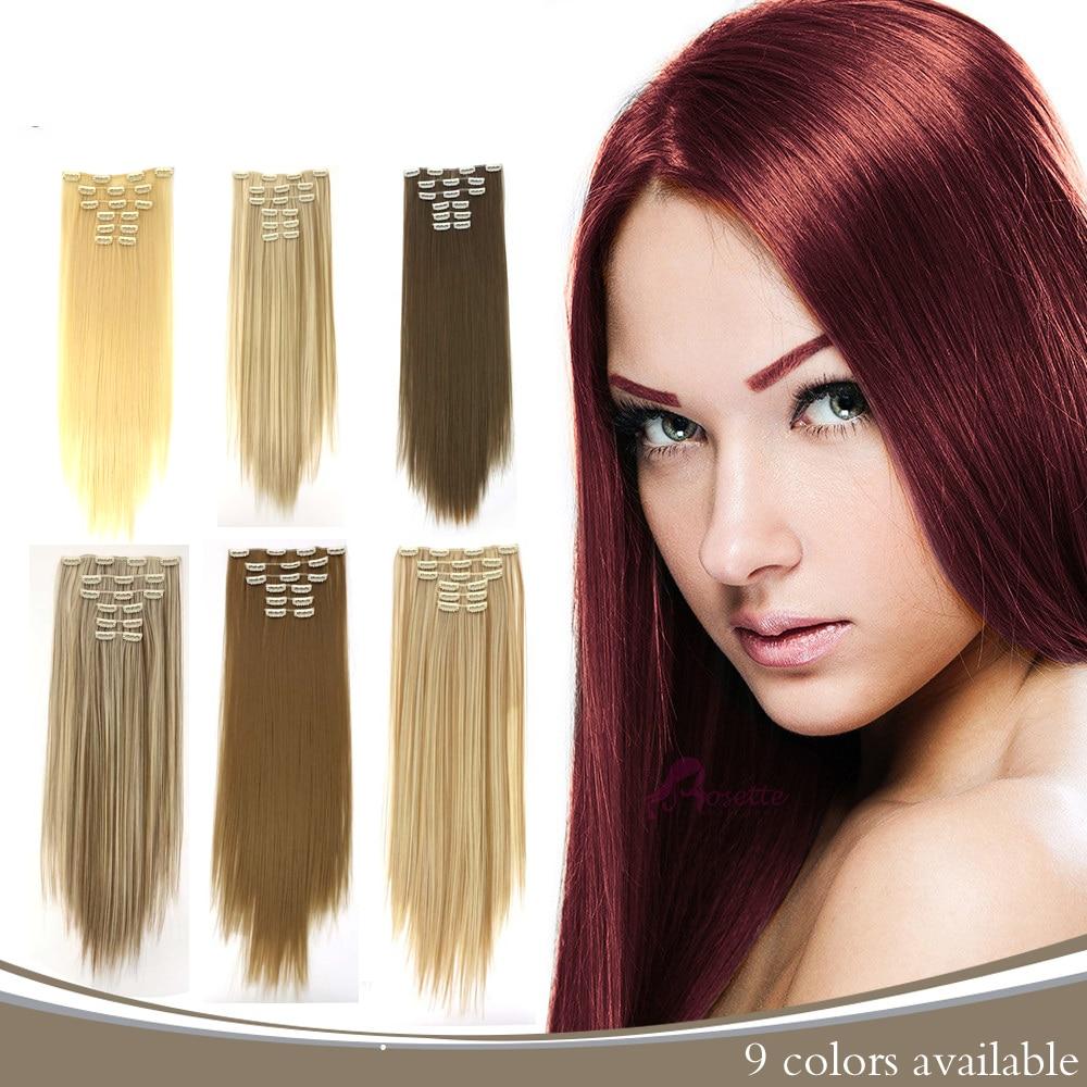 AOSIWIG 24 Inchs волос 12 Цветов доступны прямо прическа синтетические шиньоны накладные волосы ...