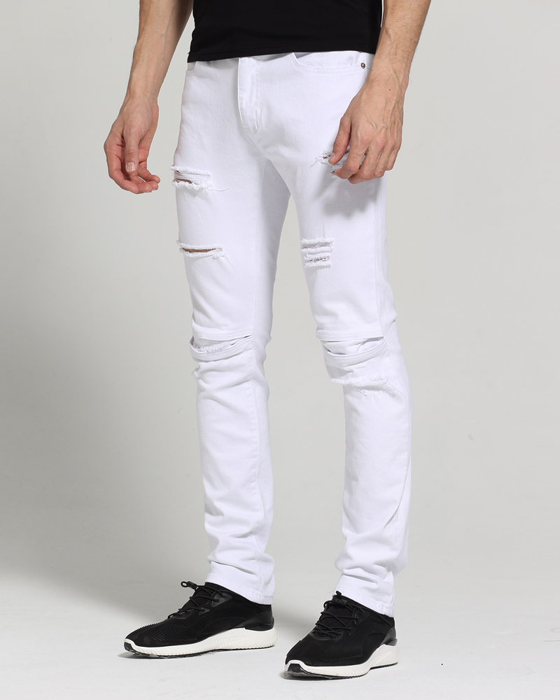 d427c185 Men White Jeans Fashion Design Ripped Destroyed Strech Skinny Jeans E1702-in  Jeans from Men's Clothing on Aliexpress.com | Alibaba Group