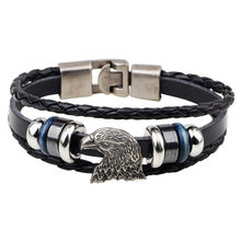 Fashion More Beads Bracelet Lanneret Eagle HawkHead To Buckle Alloy Silver Plated Fine Jewelry Original High Quality Bangle Gift(China)