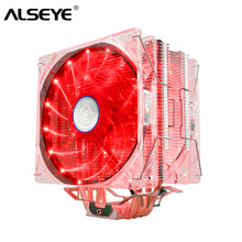 цена на ALSEYE EDDY-120R 4 heatpipes cpu cooler TDP 220W Dual PWM LED 120mm fan with aluminum heatsink radiator for lga 775/115x/AM2/3
