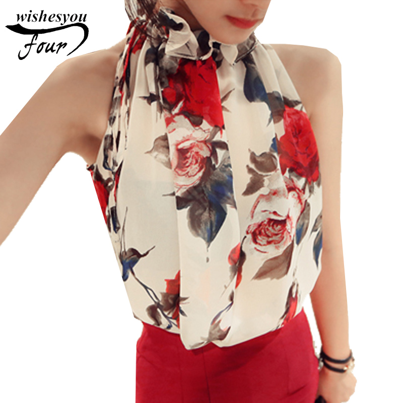 2017 New Fashion Women Tops Chiffon Floral Print Blouses Ruffles Turtleneck Shirt Vest Design Loose Brand women clothing C988 30