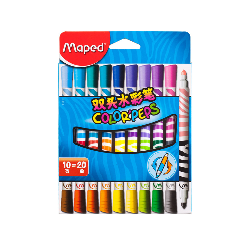 Maped Stationery set double head watercolor pen 10 =20 color childrens brush painting student painting non-toxic watercolor penMaped Stationery set double head watercolor pen 10 =20 color childrens brush painting student painting non-toxic watercolor pen