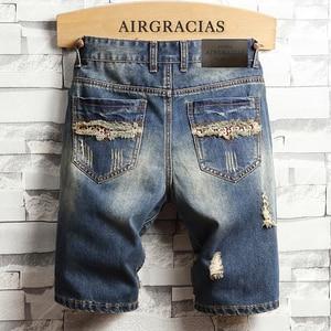 Image 2 - AIRGRACIAS Mens Ripped קצר ג ינס מותג בגדים ברמודה כותנה לנשימה מכנסי ג ינס קצרים זכר חדש אופנה גודל 28 40
