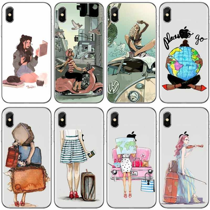 PARA iPhone 5 5S SE Caso Capa TPU Silicone Travel Fashion girl PARA o iphone 6 S 6 7 8 plus X XS XR XS Max caso de telefone