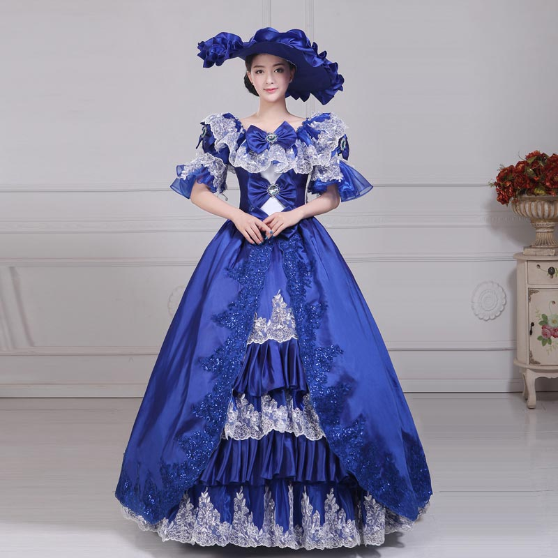 18e Eeuw Blauw O-hals Korte Mouw Rococo Jurken Herfst Witte Kant Marie Antoinette Baljurken Voor Vrouwen Theater Kostuums Een Verrijkt En Voedingsstof Voor De Lever En De Nieren