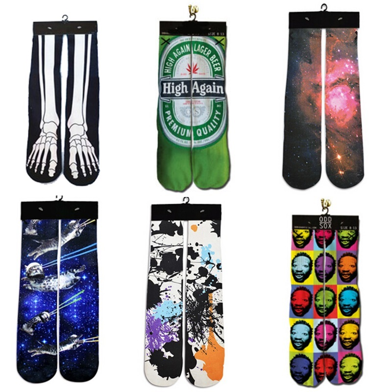 2018 NEW High Quality 3d Printed Galaxy/Beer/Paint Sock Harajuku Funny Socks Women/Men Casual Cotton Warm Ankle Socks
