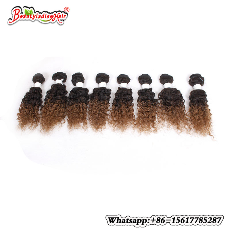Naturlig Mänsklig Afro Kinky Curly Hair 8 st / lot Brasilian Kinky - Syntetiskt hår - Foto 3