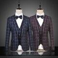 2016 Xadrez Azul Moda Casual Ternos Blazers Homens Terno Masculino Casamento Plus Size 6XL Terno Jaquetas Hombre Bleiser Roxo