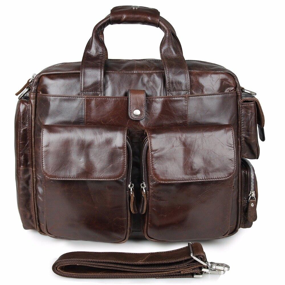Augus 100% Brand New Product Men's Handbag Imported Top Layer Cow Leather Laptop Bag For Business Men Classic Travel Bag 7219C augus imported top layer leather messenger bag high quality crazy horse handbag brand new shoulder for men 7205r