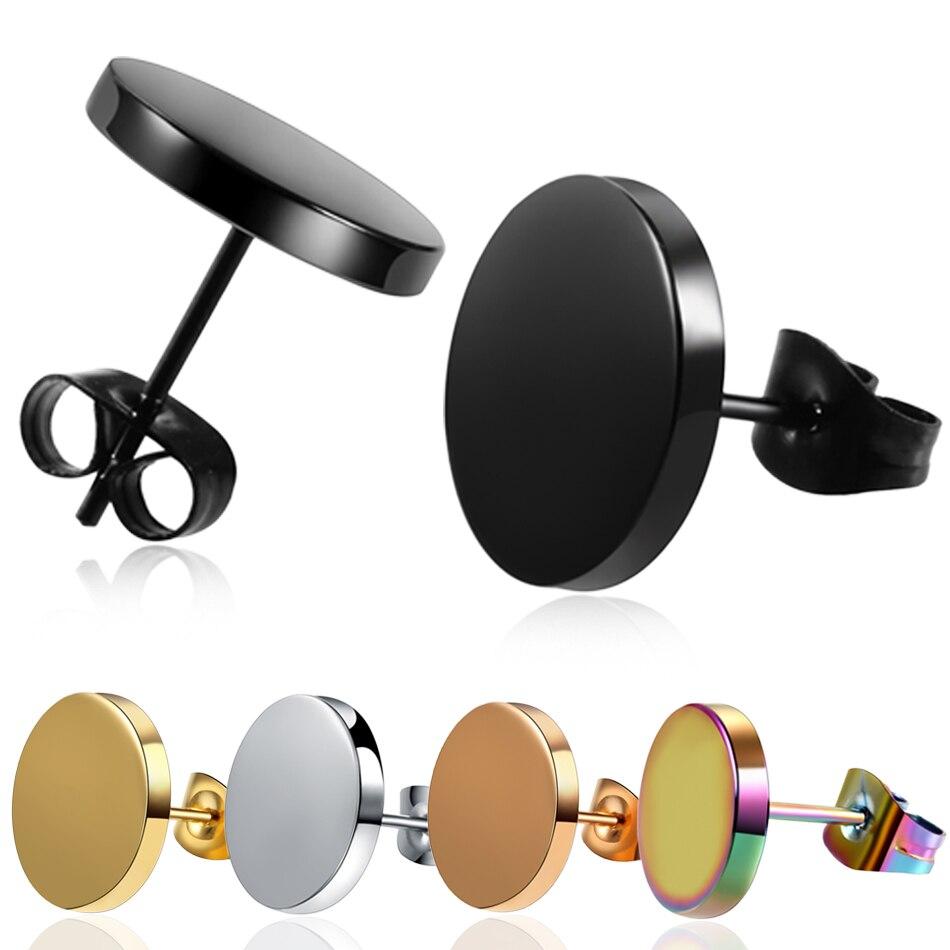 1 Pair Stainless Steel Shaped with Butterfly Clasp Push Black Earrings Trendy Round Punk Ear Studs Earrings Women Men Earrings