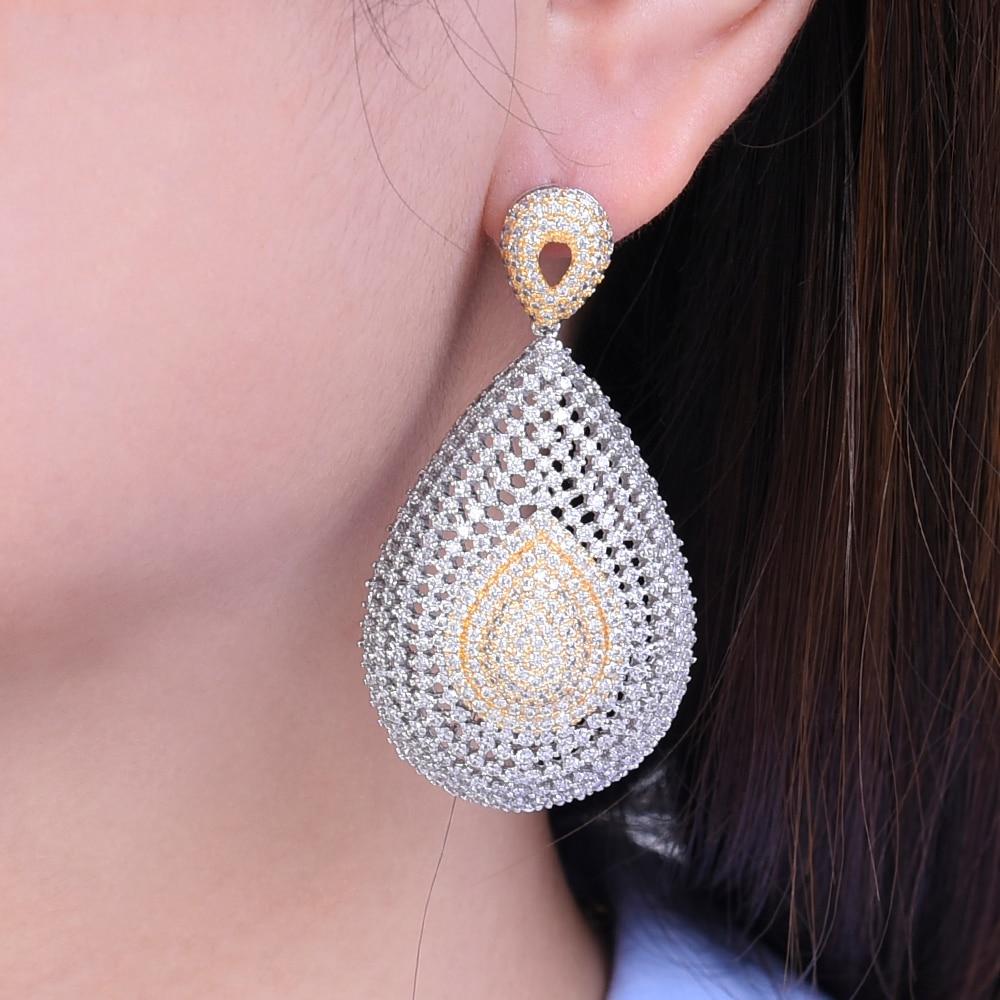 missvikki Luxury Women Water Drop Pendant Earrings Elegant Cubic Zirconia Jewelry Earrings Design Fashion High Quality