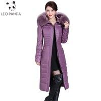 2018 pato invierno Abrigos de plumas chaqueta mujeres largo Delgado parka coat mujeres Abrigos de plumas con Piel auténtica collar más tamaño 5xl lxt