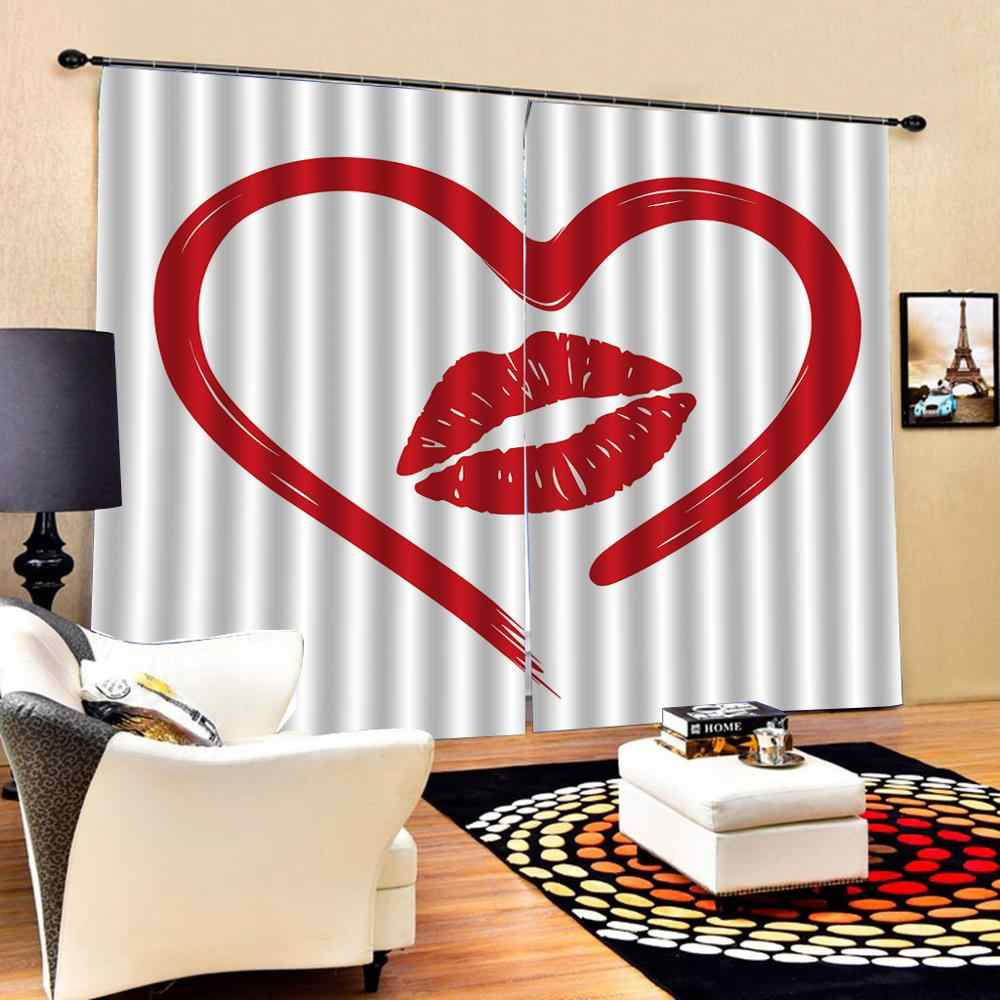 3D Curtain Luxury Blackout Window Curtain Living Room red heart curtains for bedroom Decoration curtains