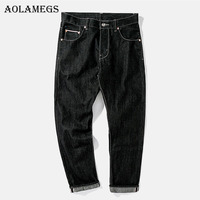 Aolamegs Biker Ripped Jeans For Men Flash Black Pants Mens Selvage Skinny Jeans Brand Baggy Denim