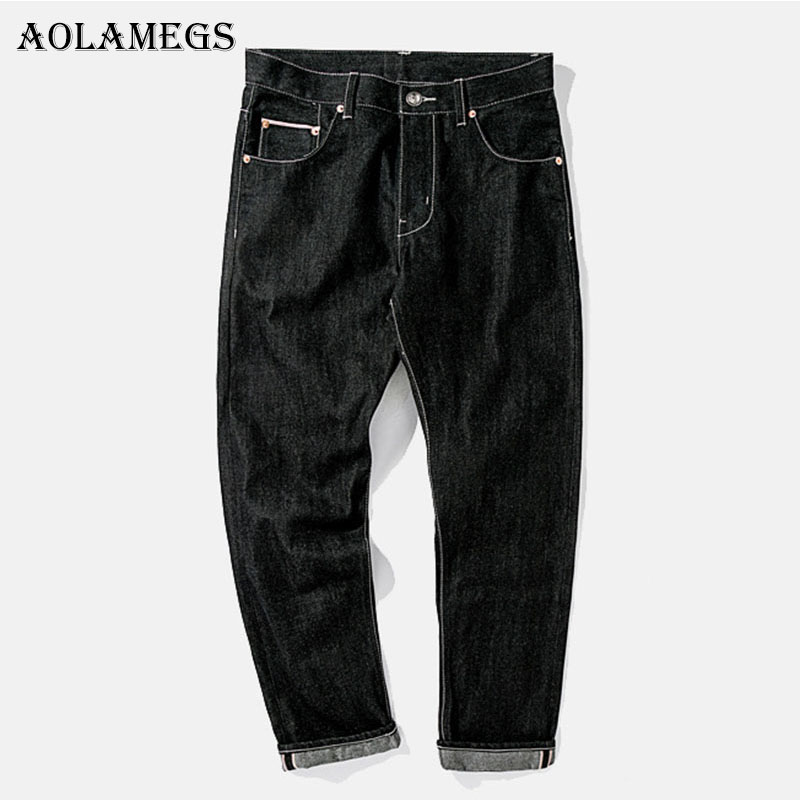 Aolamegs Biker Ripped Jeans For Men Flash Black Pants Mens Selvage Skinny Jeans Brand Baggy Denim Cotton 2017 Trousers Bottoms
