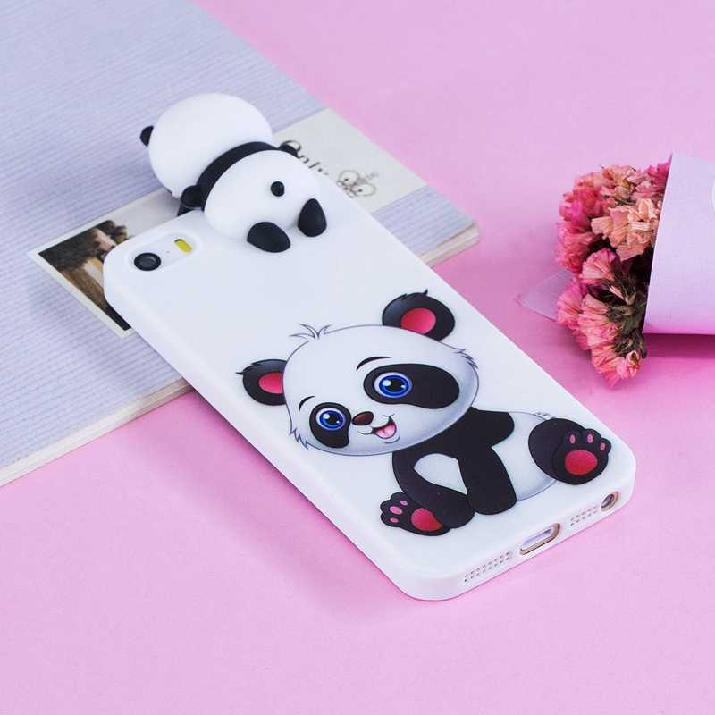 I5 لطيف الحال بالنسبة ل Coque أبل آيفون 5s حقيبة لهاتف أي فون 5 ثلاثية الأبعاد الباندا لينة سيليكون الغطاء الخلفي ل iPhone5s 5s 5SE حافظة 5s 5 SE