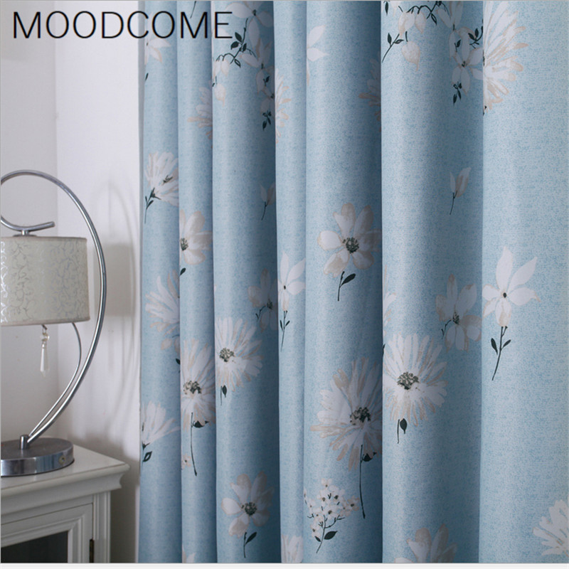 €6.39 |Cortinas para sala comedor dormitorio Simple atmosférico Rural  Gardenia pequeña Margarita flores sombreado cortina tela-in Cortinas from  Hogar ...