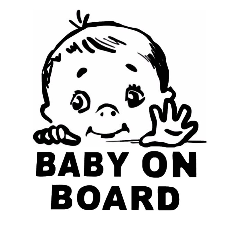 13.1*15.2CM Lovely Child BABY ON BOARD Safety Sign Car Stickers And Decal Vinyl Car Styling Black/Silver C9-2319