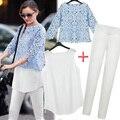 Novo 2016 verão roupas femininas Set oco Out imprimir Chiffon blusa de renda camisas colete calças de algodão 3 peça definir frete grátis