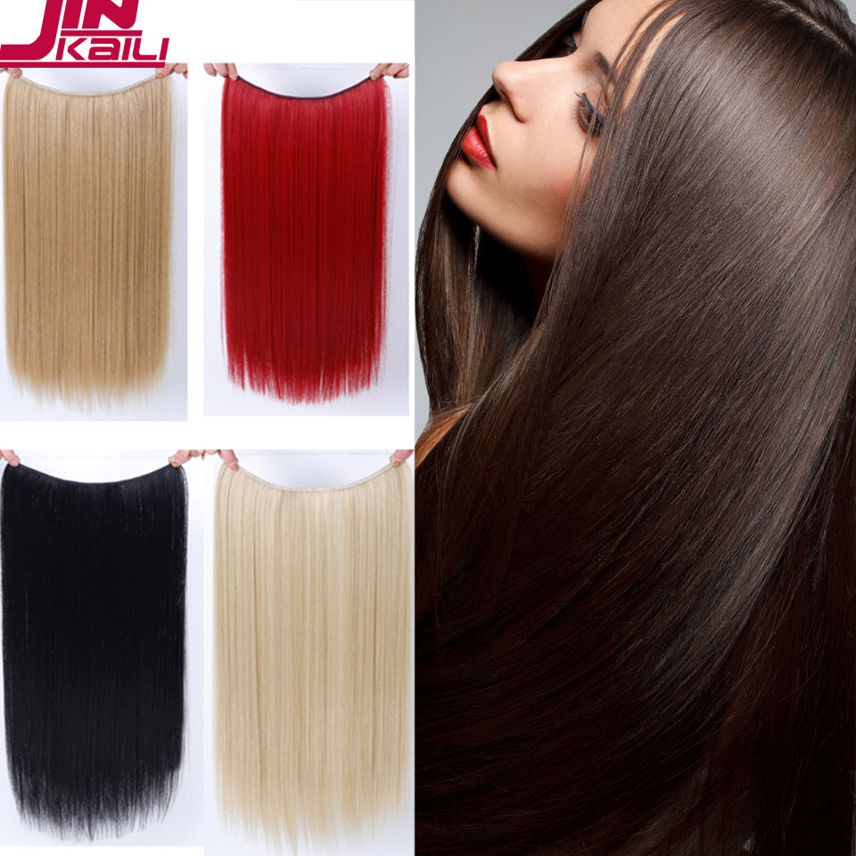24 inch Long Synthetic Hair Heat Resistant Hairpiece Fish Line Straight Hair Extensions Secret Invisible Hairpieces JINKAILI