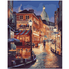 RIHE Small Town night-DIY Painting By Numbers kit,Oil Canvas Painitng,Home Wall Art Picture Coloring,Paint By Numbers 16x20inch royaldream sexy woman diy painting by numbers canvas painitng home wall art picture coloring by numbers for home decor