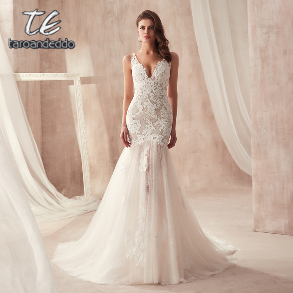 V-neck Nude Mermaid Wedding Dress Open Back With Lace See Through Sexy Bridal Gowns Vestidos De Noiva
