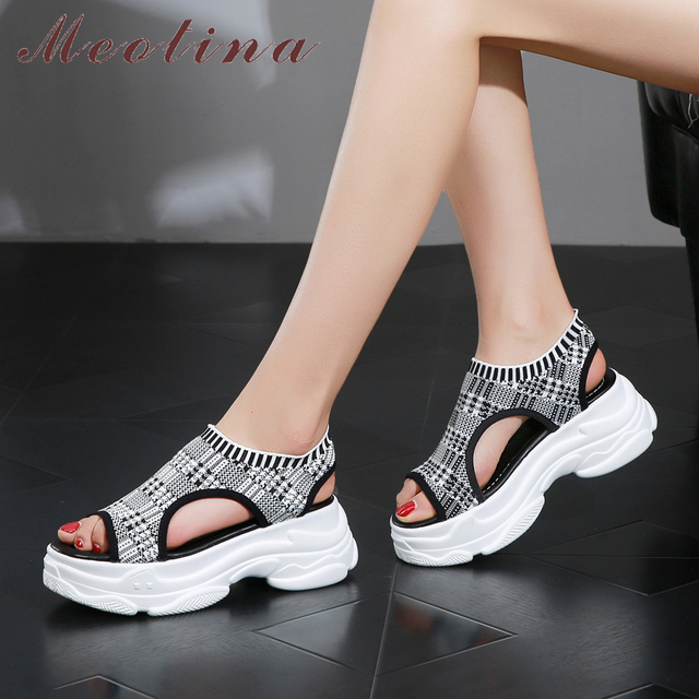 35ccc1f7b6386c Meotina Summer Sandals Women Shoes Stretch Flat Platform Shoes Cutout Peep  Toe Casual Sandals Female 2019 Gray Black Size 34-39