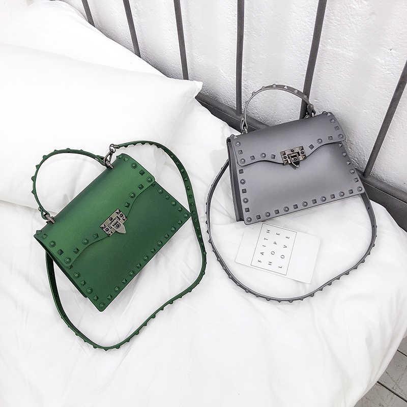2018 модные женские туфли Силиконовые Конфеты Сумки модные заклепки небольшая сумка желе сумки через плечо