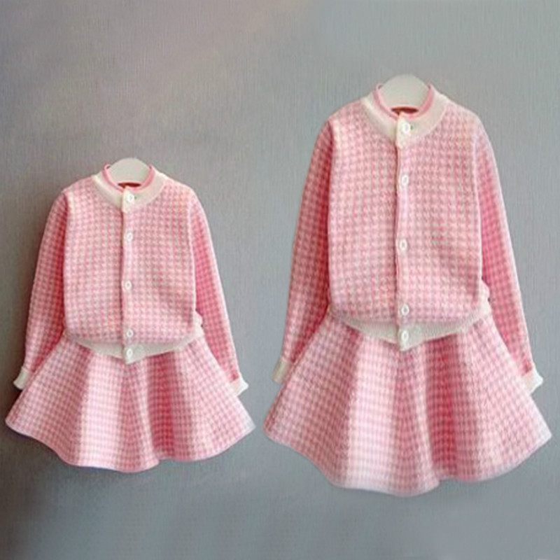 2pcs Mother Daughter Oufits Dresses Family Matching Clothes Sweatshirt Jacket+skirt Pink Princess Girls Mama Family Clothing
