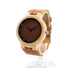 БОБО ПТИЦА Ручной Бамбука Деревянные Часы с Браун Натуральной Кожи Ремешок Японский Кварцевый Повседневная Часы D16-1