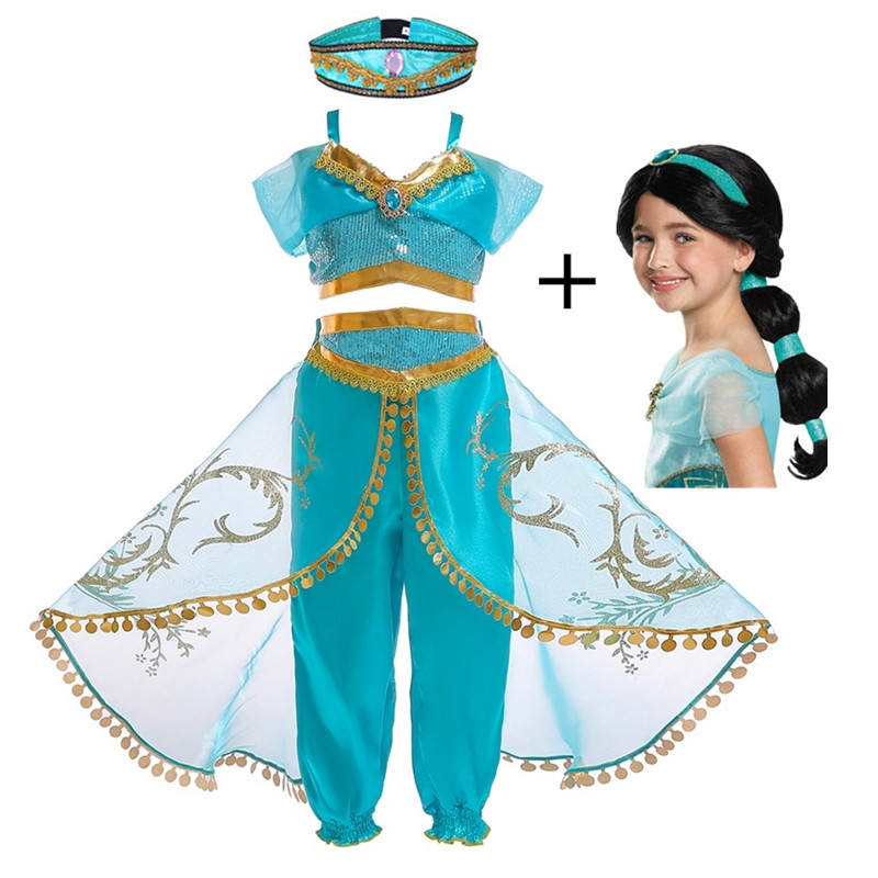 FindPitaya Christmas Children's Dress Aladdin's Lamp Cosplay Costume Jasmine Princess Girl Dress Role Costume Two-piece