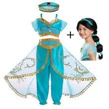 FindPitaya/рождественское детское платье маскарадный костюм с изображением лампы Аладдина платье принцессы жасмин для девочек Карнавальный костюм из двух предметов