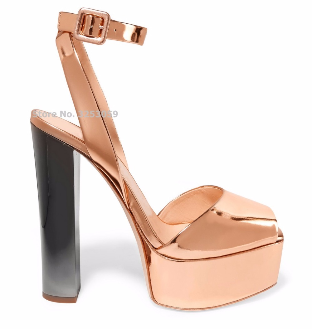 Rose Gold Glossy Patent Leather Chunky Heel Sandals Platform Banquet Shoes Multi-color Bling Bling Bridal Shoes Sequined Pumps metallic platform dress pumps colorized chunky heel sandals bling bling sequined bridal shoes glittering paillette thick heels