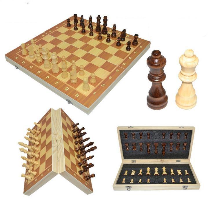 2019 Hot High Qulity 39cm X 39 cm-es klasszikus fa sakktábla társasjáték Összecsukható mágneses összecsukható tábla csomagolás Fa sakk