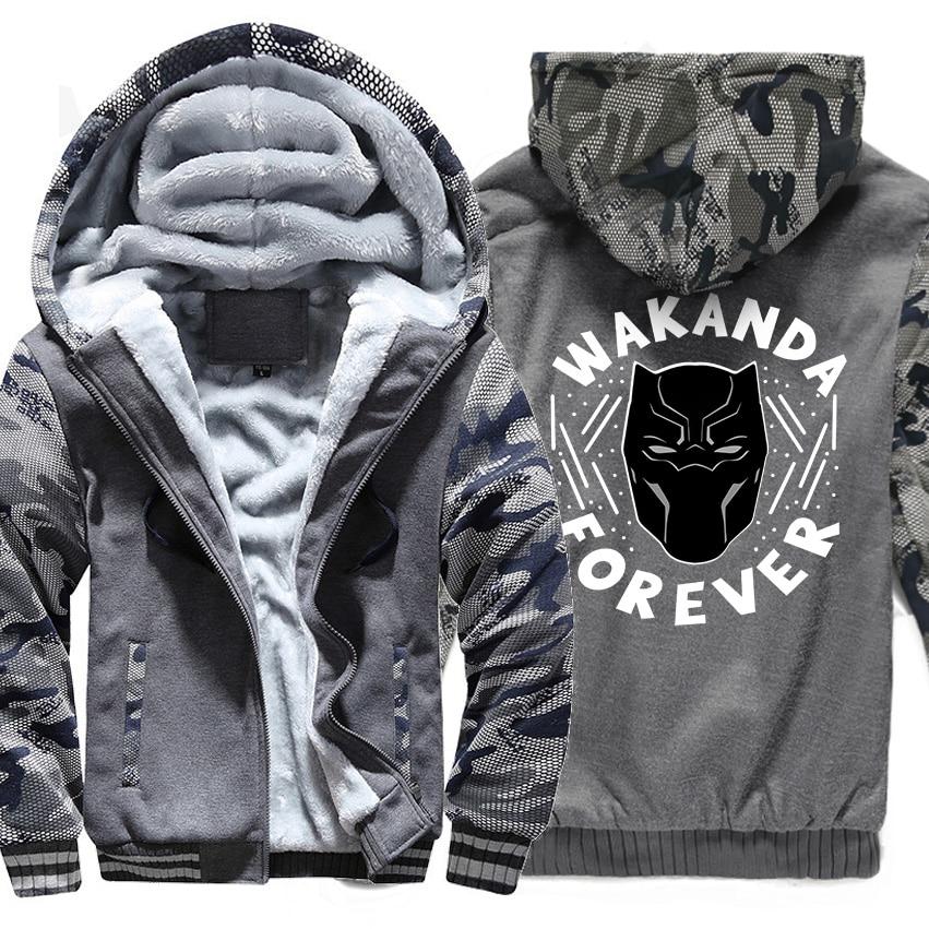 WAKANDA FOREVER Streetwear Black Panther Hoodies Men 2018 Hot Autumn Winter Thick Zipper Jackets Harajuku Men's Coats Sweatshirt