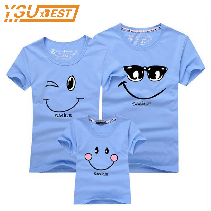 Smiling Face Shirt Short Sleeves Matching Clothes New 2017 Cotton Family Matching T Shirt Fashion Family Outfit Set Tees Tops mens casual 3d personality skull printing short sleeve t shirt cotton sport black tees