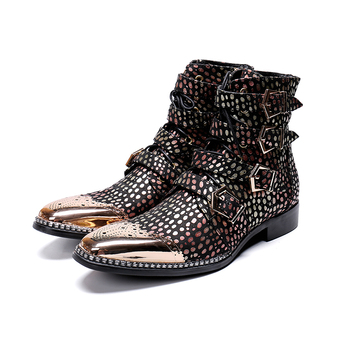 Genuine Leather 4 buckles zip lace-up ankle boots fashion Wave point Bullock carved oxford pointed toe Martin boots big size 46