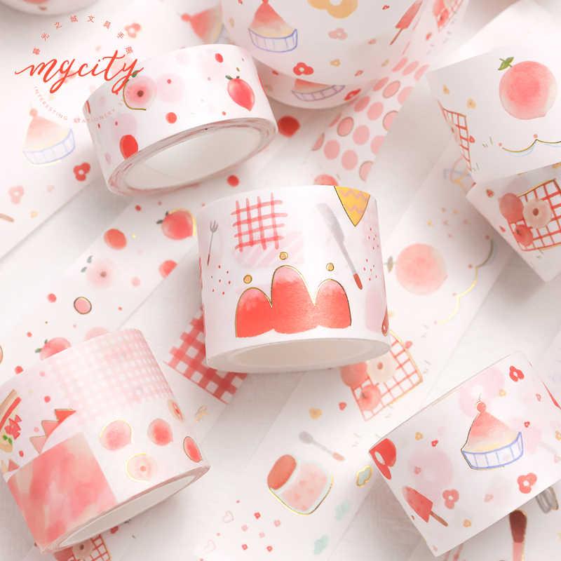 Kreatif Buah Dessert Peach Penyepuhan Bullet Journal Washi Tape Pita Perekat Diy Scrapbooking Stiker Label Masking Tape