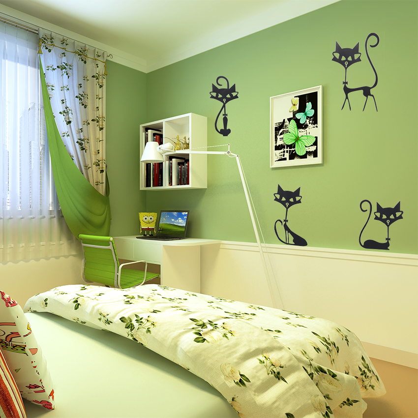 Fashion Wall Stickers Four Black Cat Stickers Living Room Wall Decor Child Bedroom Vinyl Home Decor Stickers-in Wall Stickers from Home & Garden on ...