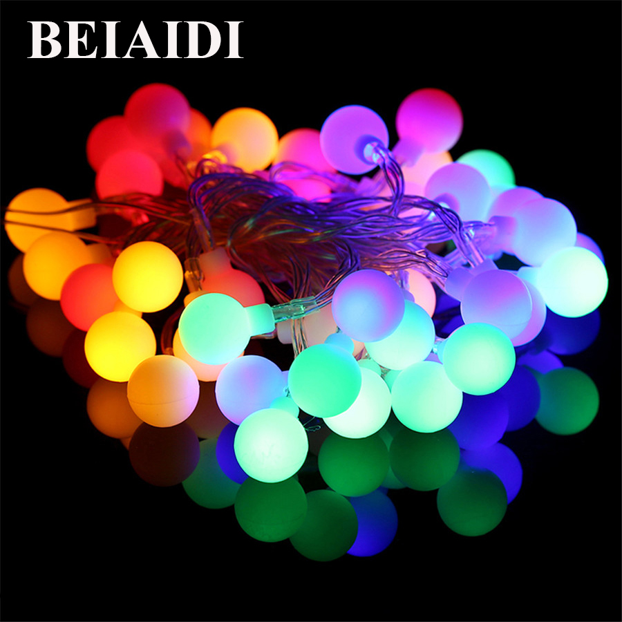 BEIAIDI 2M 5M 10M LED String Fairy Lights with Cherry Balls LED Globe Waterproof Starry Light for Garden Christmas Wedding Party real flame sparta