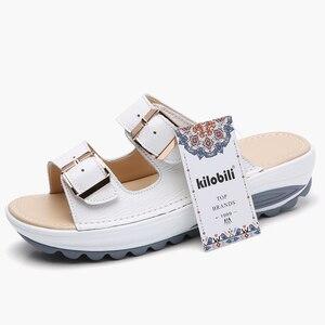 Image 2 - Kilobili נשים נעלי אבזם עור אמיתי נעלי שקופיות מוצק עבה בלעדי עקבים חוף סנדלי נשים מחוץ כפכפים קיץ