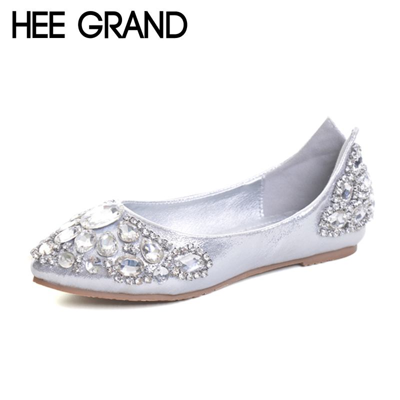 HEE GRAND Elegant Loafers Silver Crystal Ballet Flats 2017 Casual Slip On Shoes Woman Shallow Summer Women Flat Shoes XWD5612 hee grand pearl ballet flats 2017 crystal loafers bling slip on platform shoes woman pointed toe women shoes size 35 43 xwd4960
