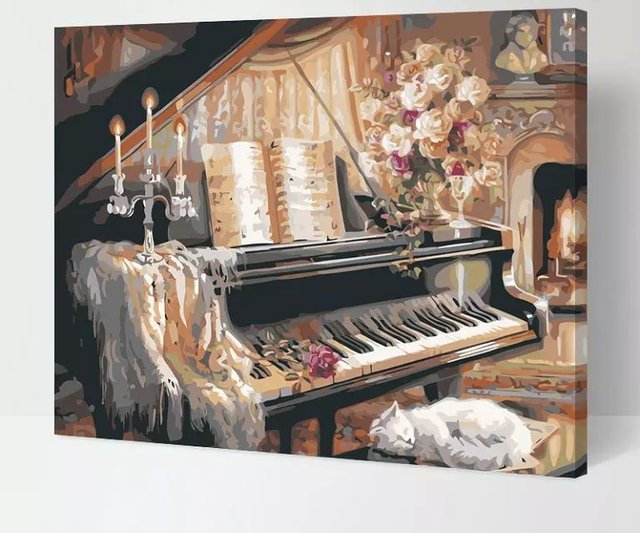 Frameless The Piano And Cat Wall Decor Diy Painting By