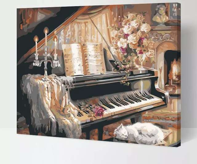 Frameless The Piano And Cat Wall Decor Diy Painting By Numbers Hand Painted Canvas Painting For Living Room 4050cm